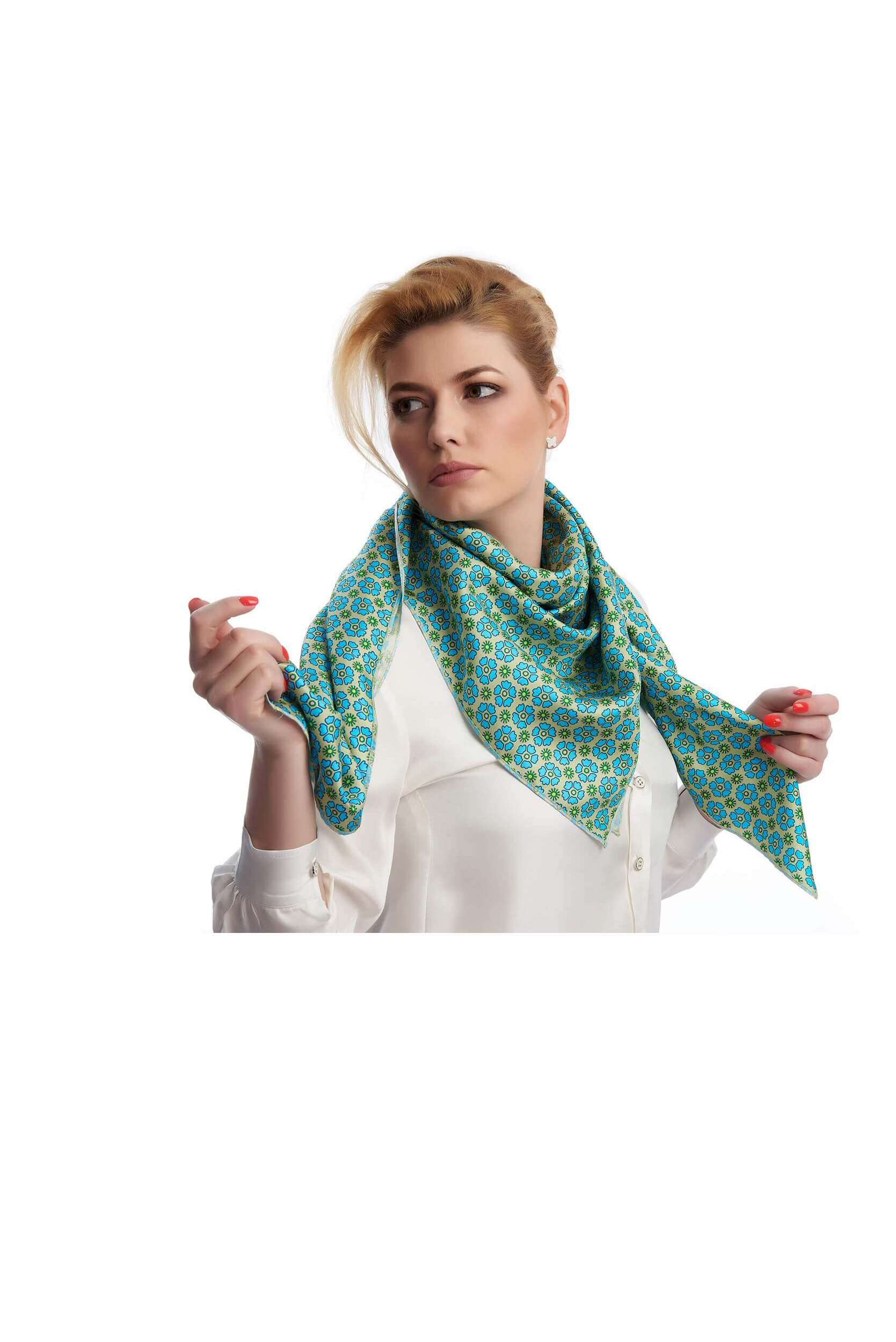 Woman wearing the soft and shiny silk twill scarf with floral print