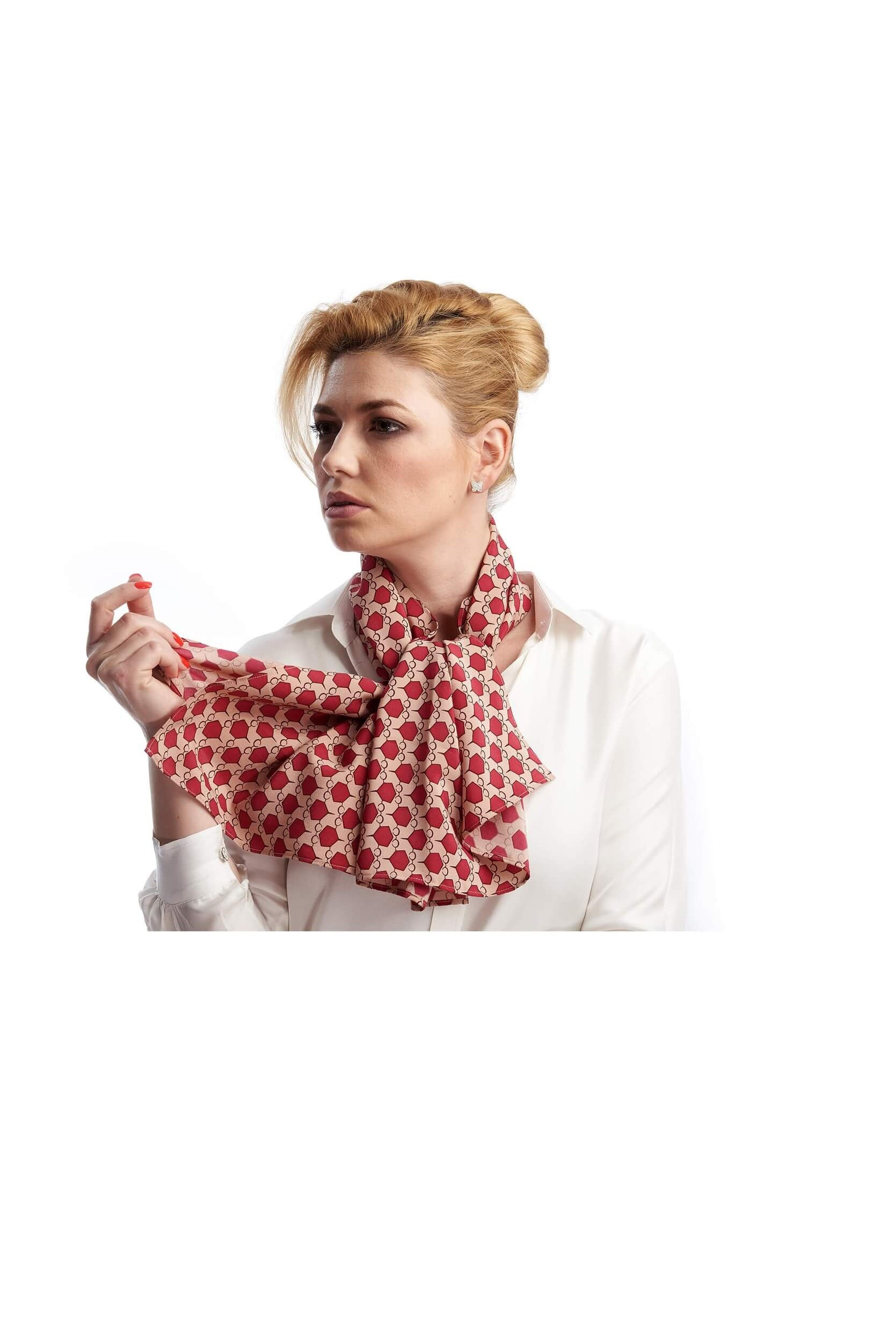 woman wearing a scarf cut from silk crepe